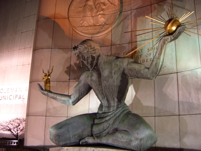 the-spirit-of-detroit-sculpture-at-night
