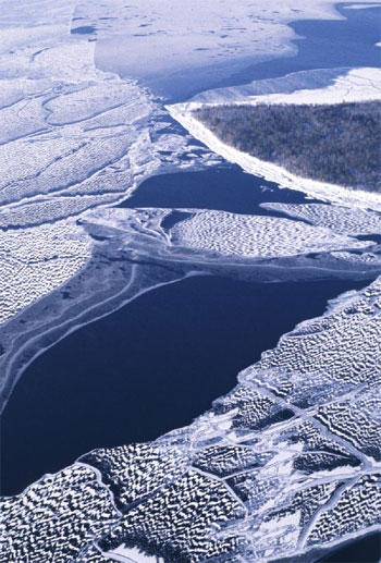 Aerial Photo of Lake Superior Ice (off the Keweenaw)