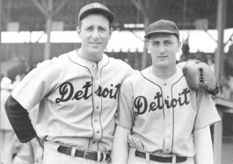 Hank Greenberg and unidentified teammate, spring training 1936