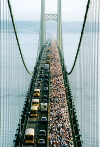 Walkers in the Mackinac Bridge Walk from the tower!