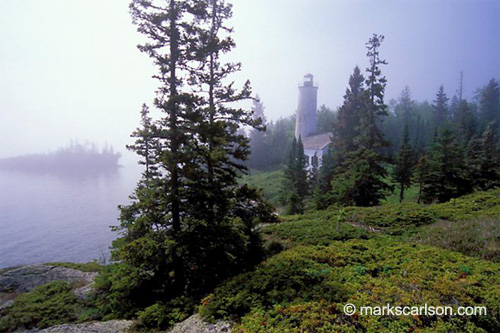 Rock Harbor Lighthouse, in lifting fog - Isle Royale National Park