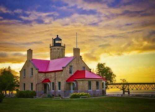 Mackinac Point Lighthouse at sunset