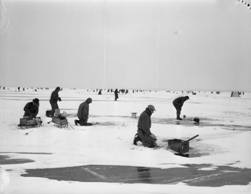 Vintage Ice Fishing Michigan