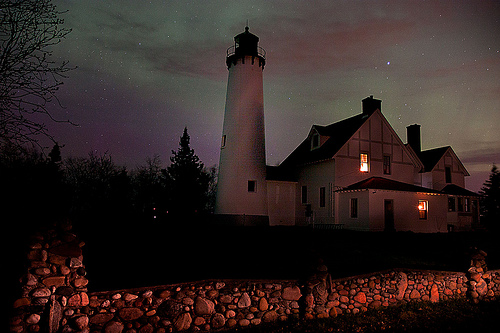 Iriquois Point Light and th Northern Lights