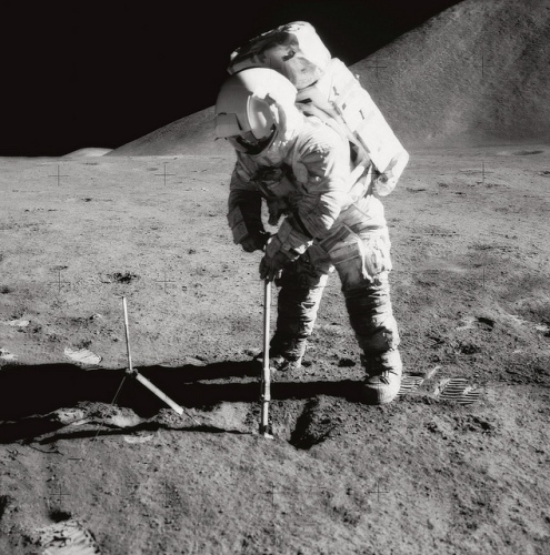 Apollo 15: Irwin Scoops up Soil