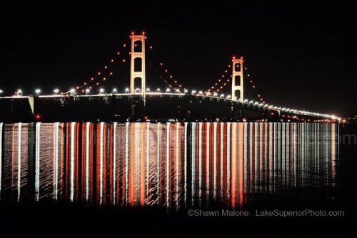 Mackinac Bridge at Night by Shawn Malone