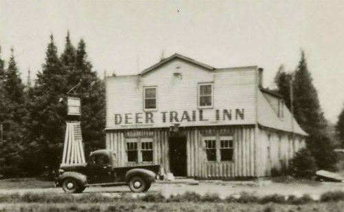 UP Marenisco Watersmeet MI RPPC 1930s The Deer Trail Inn Saloon & Restaurant DANCING COCKTAILS BEER LUNCHES RED CROWN STANDARD OIL GAS On US-2 Photographer UNK1