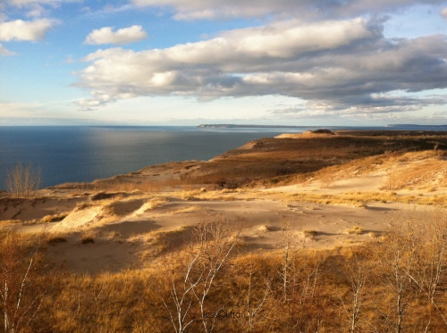 View of Manitou Islands from Sleeping Bear Dunes