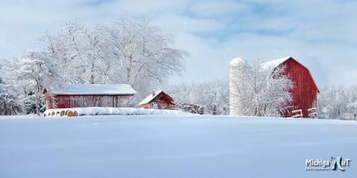 Fresh Winter snow on a historic Michigan Farm