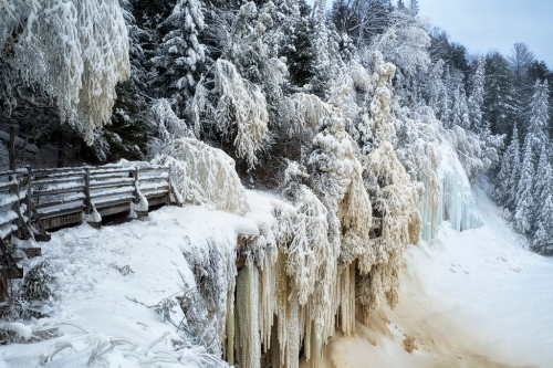 winter, upper tahquamenon falls, michigan
