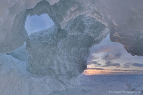 Lake Michigan ... ice cave sunset II
