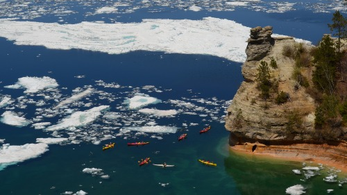 Miners Castle, with ice and kayaks