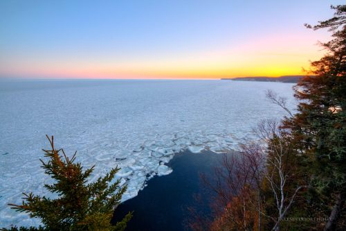 Wintry Sunrise from Pictured Rocks by Lake Superior Photo
