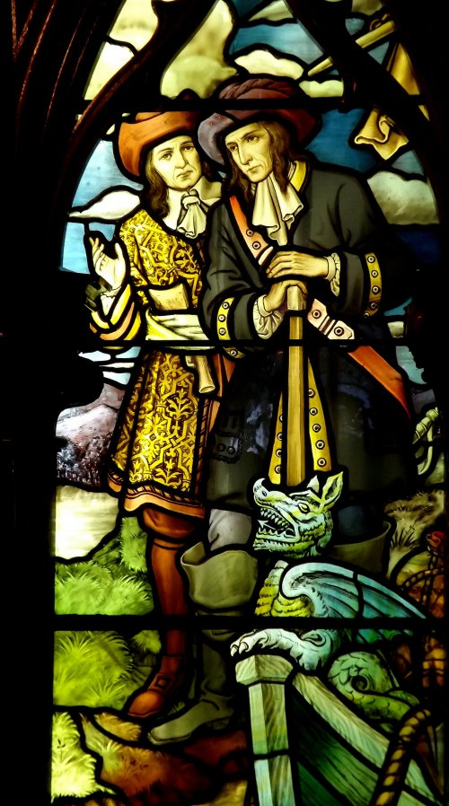 Detail: The LaSalle Stained Glass Window, Installed at Dossin Great Lakes Museum, Belle Isle Park--Detroit MI