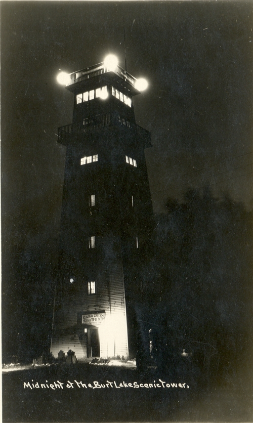 Cheboygan Indian River MI The Burt Lake Scenic Tower at Night This Tower had an early Carl Zeiss 42 Power Telescope for patrons to use, which was a very big deal