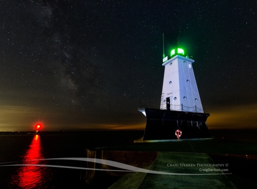 Milky Way and Stars over Ludington Lighthouse