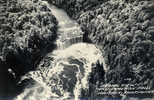 Newberry MI UP RPPC Aerial View Upper Tahquamenon Falls near Whitefish Point LL Cook K-498 Postmarked 1948
