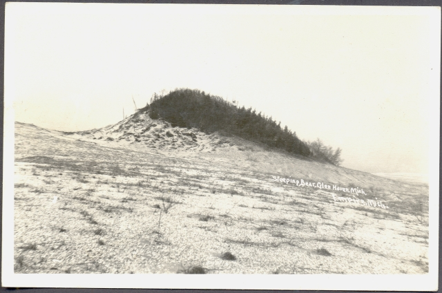 Glen Haven MI Sleeping Bear Dunes Empire and Glen Haven Marked RPPC Kodak Stampbox Unsent what looks like a hump of low scrub bushes is actually a forest hill buried in sand
