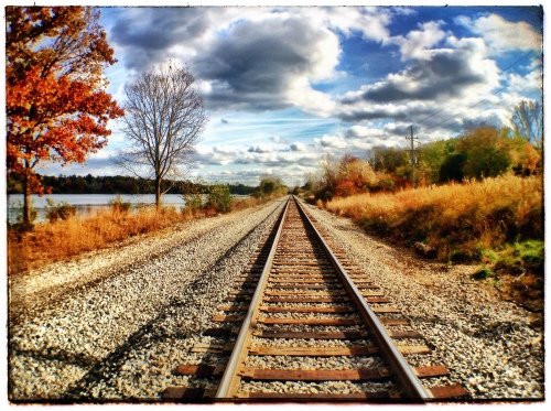 Eastbound Tracks along Huron River Drive by Lawrence Lazare