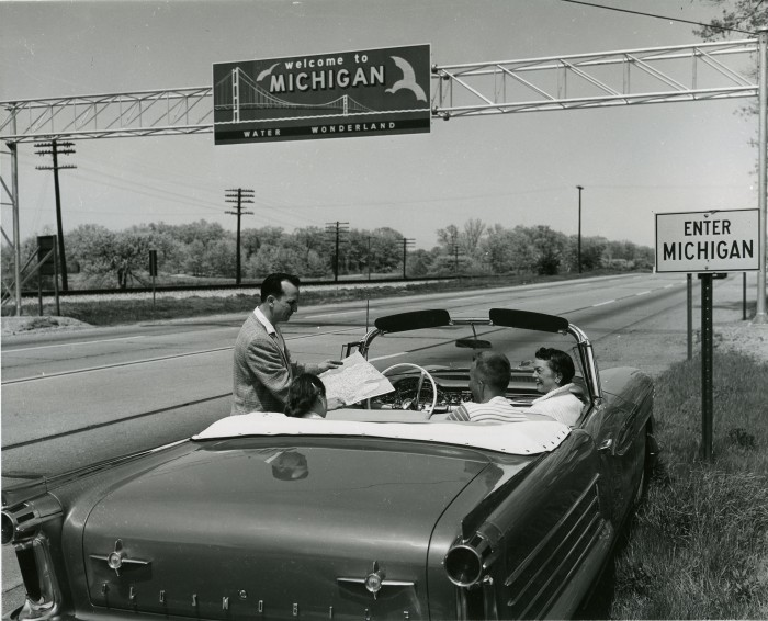 Michigan Sign at State Line 1958