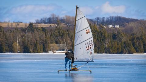 Ice Boating in Leelanau County Michigan