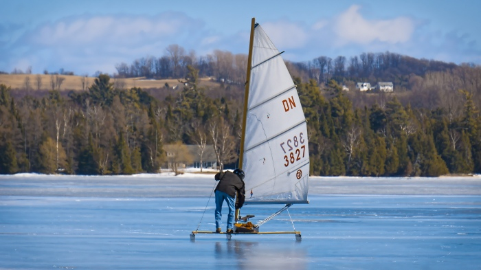 Ice Boating in Leelanau County Michigan