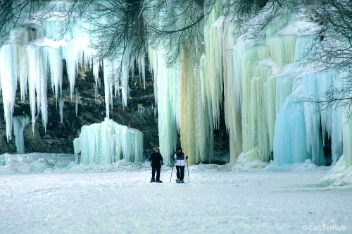 Ice Curtains on Grand Island, Munising, MI