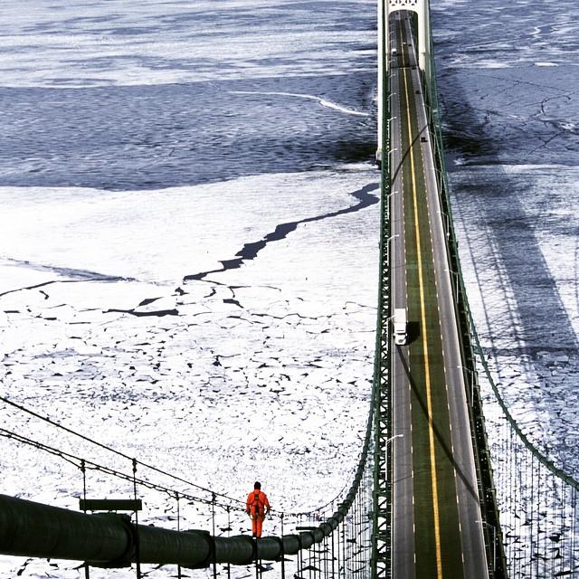 Mackinac Bridge Walking Down the Cables
