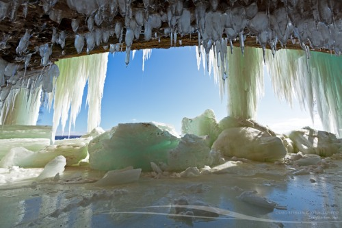 Icicles on cave - Grand Island Ice Curtains on Lake Superior - Munising, Michigan