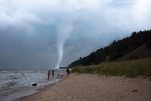 Lake-Michigan-Waterspout Muskegon Beach
