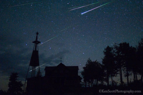 Perseid Meteor Composite over Cathead Point