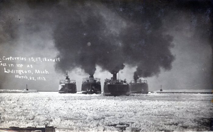 Carferries Icebound in Ludington 1913