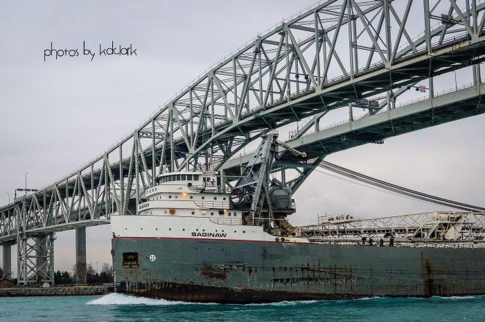 Freighter Saginaw Under the Blue Water Bridge
