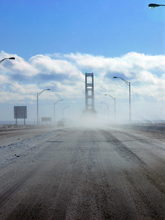 Mackinac Bridge Snow Winter