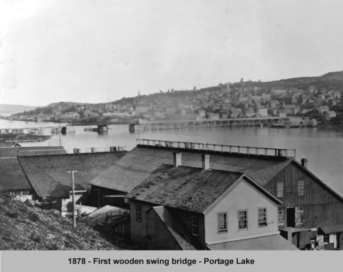 Original Portage Wooden Swing Bridge Taken from the north side of Ruppe Dock and Warehouse in Hancock, 1878