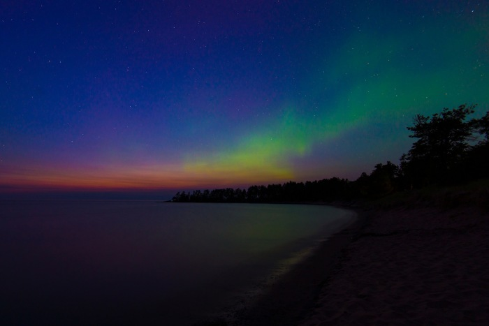 Aurora Appears on Great Sand Bay