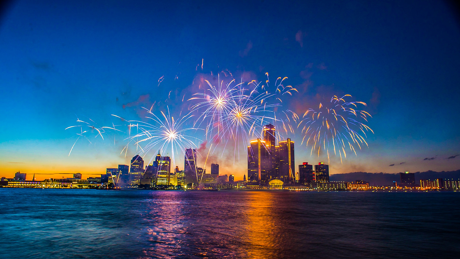 Fourth of July Fireworks over Detroit Michigan