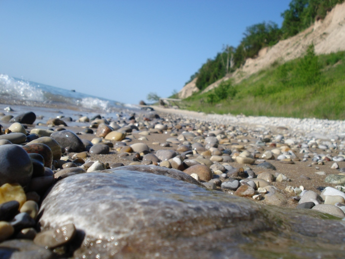petoskey-stone-on-the-lake-michigan-waterline
