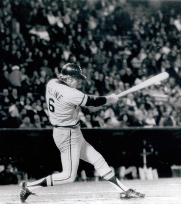Detroit Tigers Al Kaline takes a swing