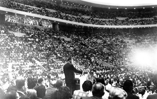 Dr. Martin Luther King speaks at Cobo Hall