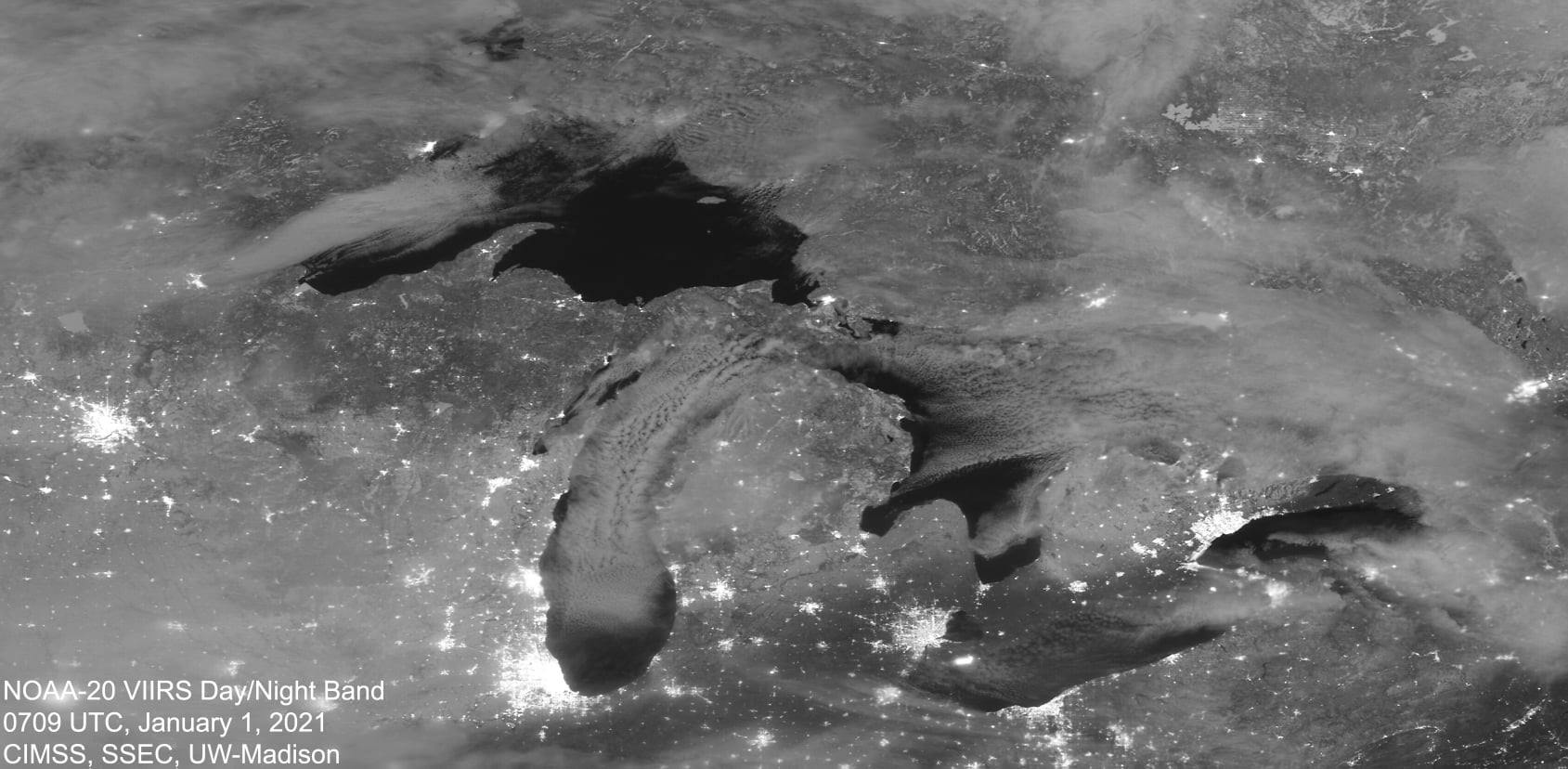 Michigan Lights up the New Year by Cooperative Institute for Meteorological Satellite Studies (CIMSS) UW-Madison