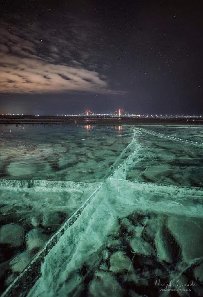 Frozen Lake Michigan & the Mighty Mac by Shelbydiamondstar Photography