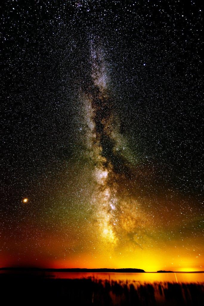 Milky Way + Mars viewed from Garden Peninsula MI by Daniel Sandin