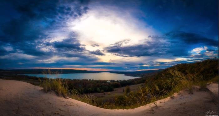 Sunglow over Glen Lake by Owen Weber