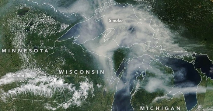 Smoke from Western Wildfires over Michigan by CMU Public Radio