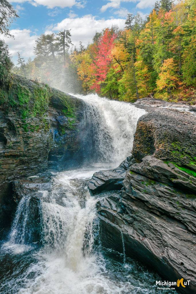 Rainbow Falls on the Black River by Michigan Nut Photography